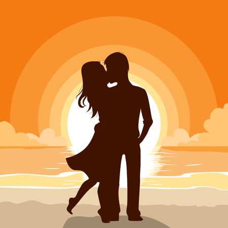 kissing: Silhouette of a couple kissing on beach background at sunset