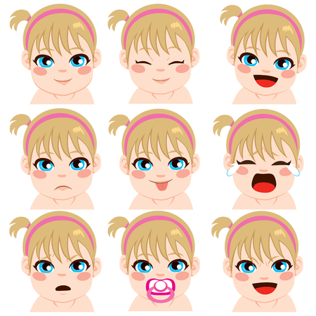 baby face: Sweet cute little girl nine different facial expressions