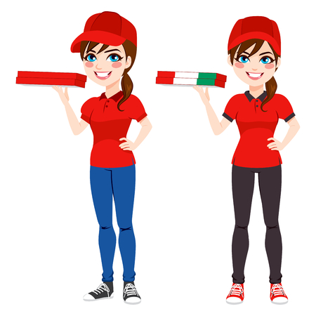 version: Pizza delivery woman standing holding order in two different version