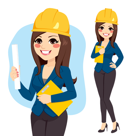 roll paper: Young female architect with safety helmet holding roll paper and folder