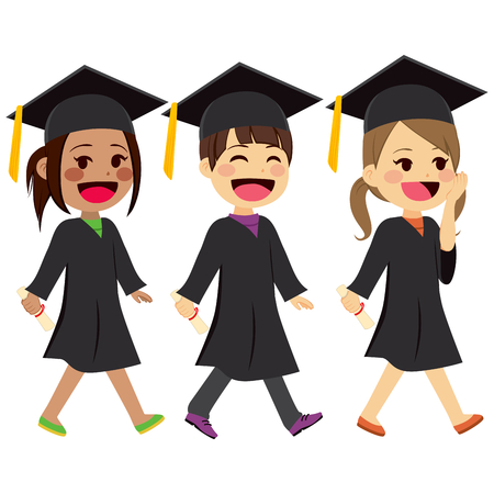mortarboard: Cute kids walking with graduation gown and mortarboard holding diplomas