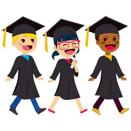 graduation gown: Cute kids of different ethnicity with black graduation gown and mortarboard
