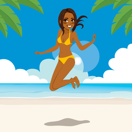 summer holidays: African American woman in bikini jumping happy on tropical beach
