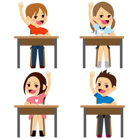 raising: Set of school children students sitting on desks raising arms up isolated on white