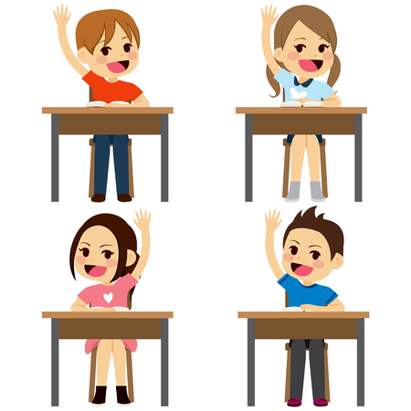 Set of school children students sitting on desks raising arms up isolated on white