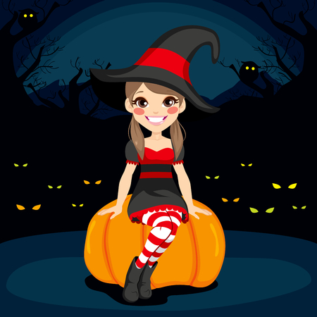 stockings woman: Cute young witch girl at Halloween night sitting on pumpkin with glowing eyes on dark background