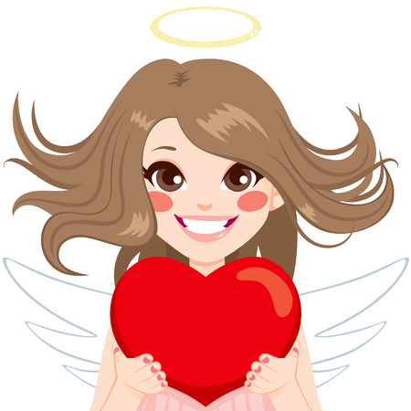 divinity: Angel with red heart and blowing hair