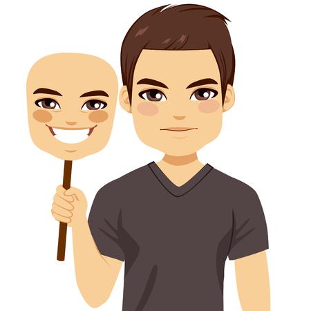 hipocres�a: Seus hombre que sostiene feliz concepto de m�scara de hipocres�a Vectores
