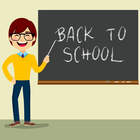 school classroom: Happy teacher character standing on classroom in front of blackboard pointing at Back to School text
