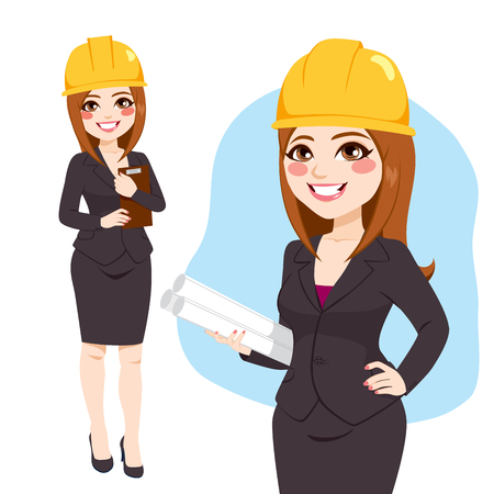 Architect woman character standing with yellow safety helmet holding blueprints Illusztráció