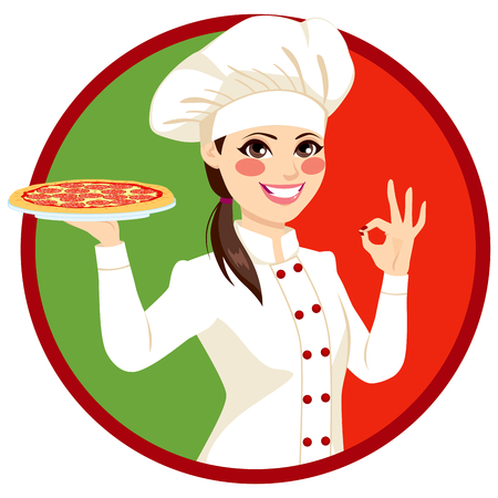 Young female Italian chef holding pizza and making ok sign with Italy flag on background Illustration