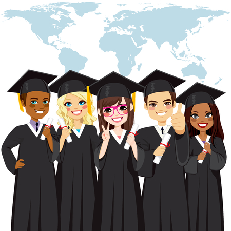 graduate asian: Graduation group of young students with world map on background global diversity concept Illustration