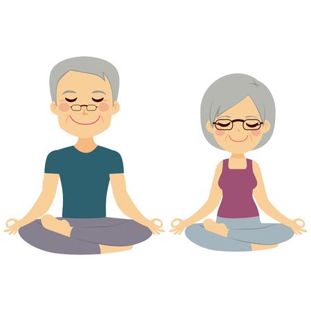高級夫婦一起練瑜伽練習 向量圖像