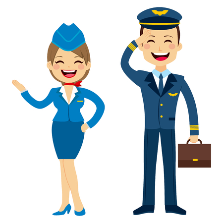 cabin attendant: Flat style stewardess and pilot characters standing isolated on white background
