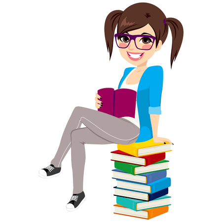 Young student girl wearing glasses sitting on big pile of books holding notebook education and learning concept