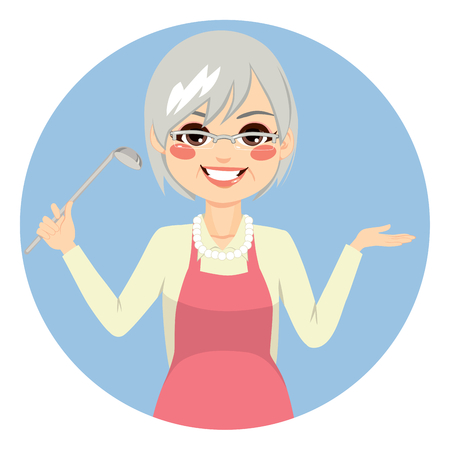 Happy granny cooking with apron holding kitchen spoon Vectores