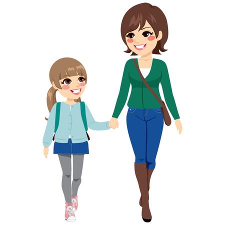 niños saliendo de la escuela: Joven madre con su hija de la mano caminando a la escuela primaria