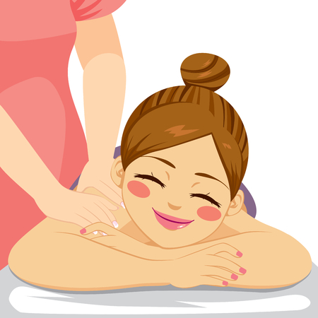 beauty girls: Woman enjoying relaxing wellness massage treatment lying down at spa