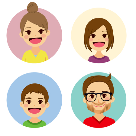 four people: Happy family of four people face portrait together Illustration