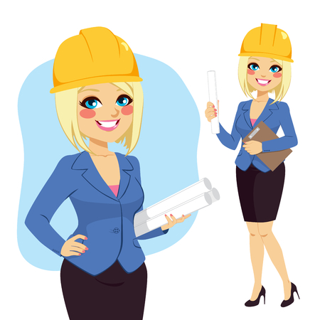construction projects: Blonde architect woman character standing with yellow safety helmet holding blueprints