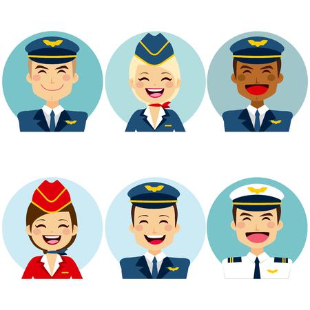 crew: Professional air crew member avatars on circle
