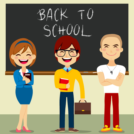 pedagogy: Collection set of different female and male teachers with blackboard on background back to school text Illustration