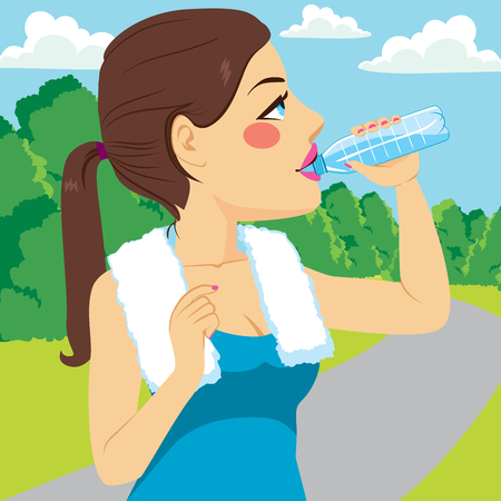 girl drinking water: Young runner woman drinking water on park
