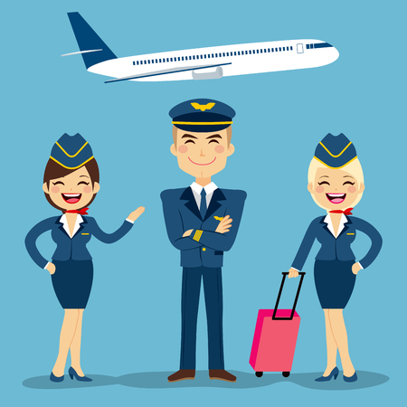 Professional aviation crew members with plane on background Illustration