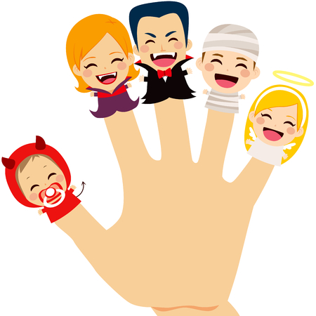 puppets: Cute finger puppets family wearing Halloween costume on hand