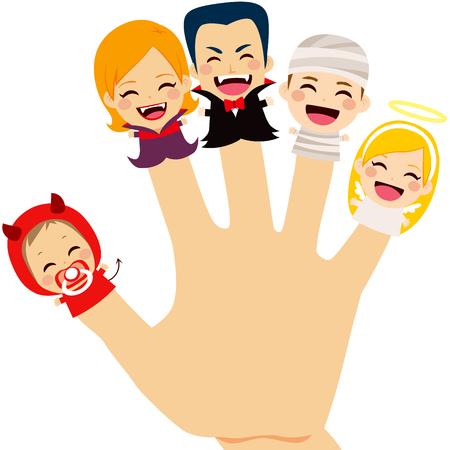marionnettes à doigt mignon famille portant costume d'Halloween à portée de main