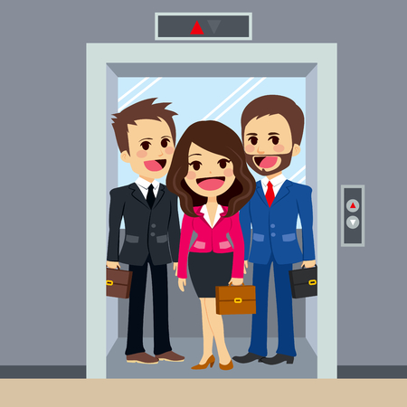 young businesswoman: Business people inside office building elevator together Illustration