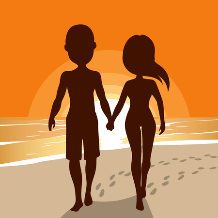couple beach sunset: Silhouette of young couple walking on beach holding hands together with sunset background