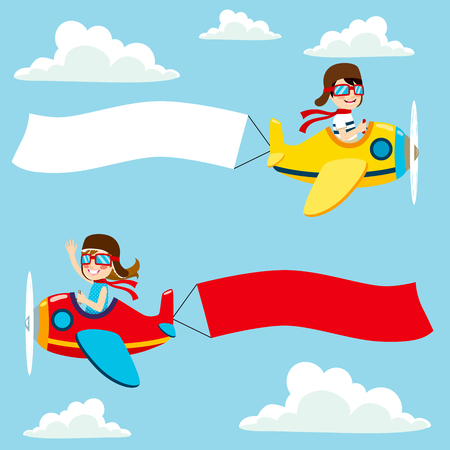 Little pilot kids on airplane with white and red blank banner