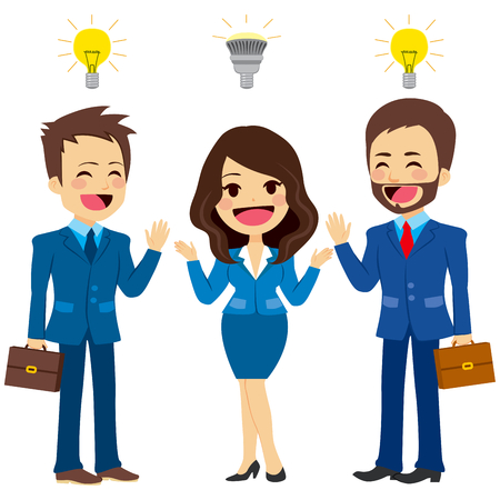 old people: Concept illustration business people with different kind of light bulbs representing new and old ideas Illustration