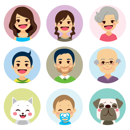extended family: Happy extended family funny avatar portrait collection Illustration