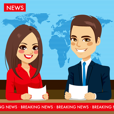 television show: Female and male newscasters on tv news television show