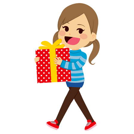 Happy little girl holding big present box