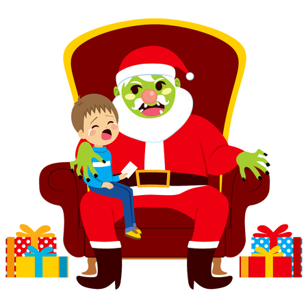 santa zombie: Santa zombie sitting with crying kid holding letter with Christmas presents wishes