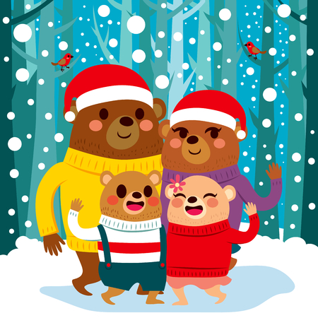 snow forest: Cute bear family with Santa hats standing on snow Christmas forest background