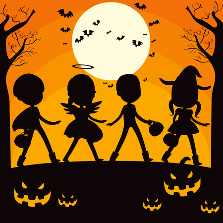 Children and pumpkin silhouette on trick or treat Halloween night full moon background