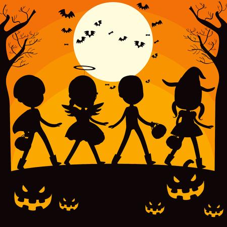 Kinderen en pompoen silhouet op trick or treat Halloween nacht volle maan achtergrond