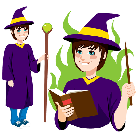 magic young: Young wizard character standing with wand making magic spell book