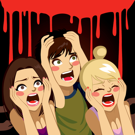 woman shouting: Teenagers screaming in Halloween night with blood on background Illustration