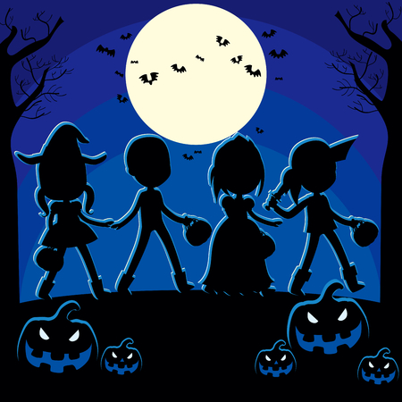 Children trick or treat and pumpkin silhouette on dark blue full moon night background