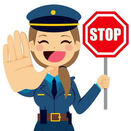 mujer policia: Ilustración de una señal de tráfico parada de la celebración de policía y que muestra palma de la mano