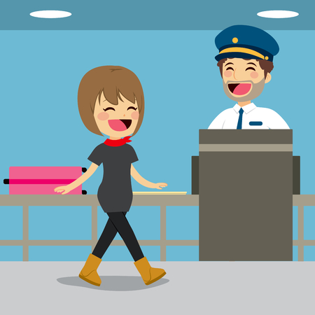 xray machine: Girl on security check control while policeman is inspecting baggage with x-ray machine Illustration