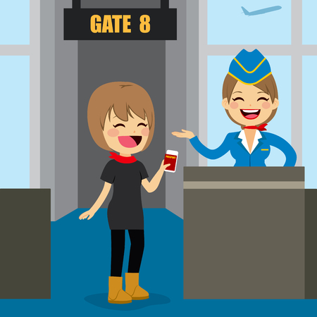 gates: Young woman holding ticket and passport at airport boarding gate talking with stewardess