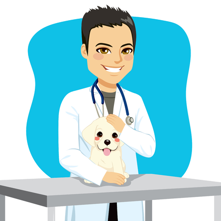 doctors and patient: Young veterinarian male doctor with puppy dog