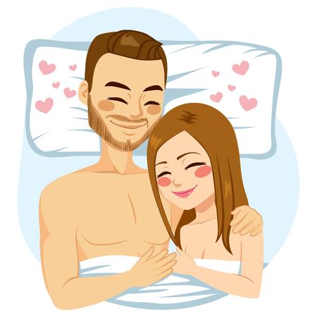 gente durmiendo: joven pareja romántica que abraza junto en cama
