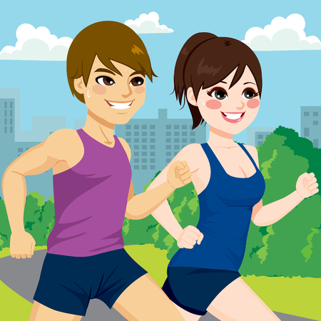jogging in park: Young athlete couple jogging together at park trail